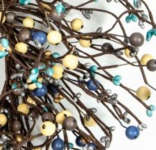 MIXED BERRY GARLAND W/LEAVES, 53IN, HW, BLUE, GRAY, SILVER,