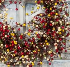 MIXED BERRY GARLAND W/LEAVES, 53IN, HW, BRIGHT RED, GREEN, Y