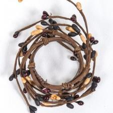 1.5 IN CANDLE RING; BLACK, BURGUNDY, TAN, 96 BERRIES