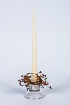 1.5 IN CANDLE RING WITH 2 STARS; 115 BERRIES; BURNT RED, TEA