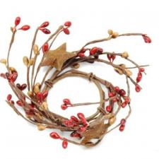 1.5 IN CANDLE RING WITH 2 STARS; 115 BERRIES; RED/TAN