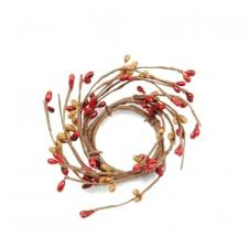 1.5 IN CANDLE RING; 115 BERRIES; RED/TAN