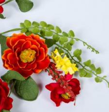 4.5 IN. DAHLIA CANDLE RING, 4.5 IN. RIM, RED, ORANGE, YELLOW