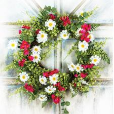 DAISY & WILD FLOWER WREATH WITH GREENERY ON A TWIG BASE, 10