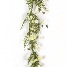 LIGHT YELLOW FLOWER GARLAND WITH GREENERY, 5 FEET